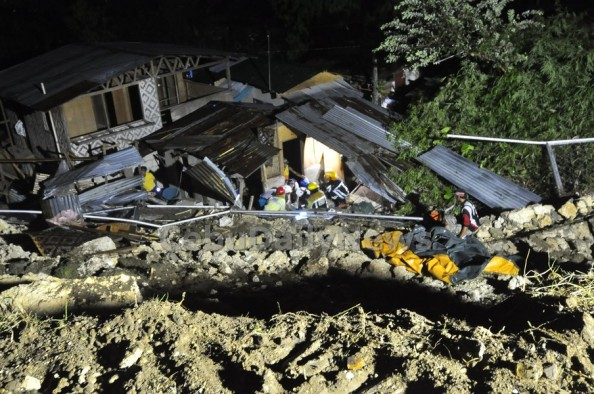 An estimated 30-ft riprap of Casa del Rio collapsed towards the shanties along the river in sitio Talamban, Cebu City